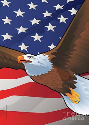 Digital Art - Usa Bald Eagle by Joe Barsin