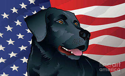 Retriever Digital Art - Usa Black Lab by Joe Barsin