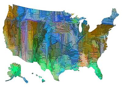 Digital Art - Usa - Colorful Map by Lena  Owens OLena Art