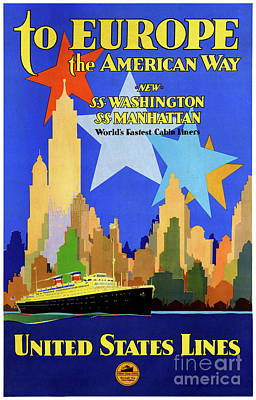 Mixed Media - Usa Cruise Lines Vintage Poster Restored by Carsten Reisinger