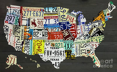 Photograph - License Plate Map Of The United States On Gray Wood Boards by Dale Powell