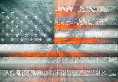 Landmarks Painting Royalty Free Images - Usa flag 10 Royalty-Free Image by Bekim M