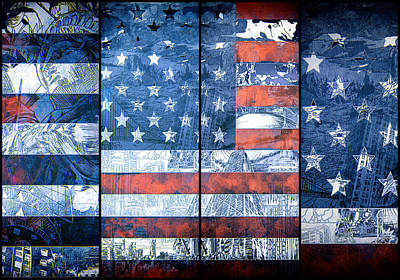 Landmarks Painting Royalty Free Images - Usa flag 11 Royalty-Free Image by Bekim M