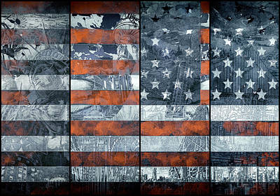 Landmarks Painting Royalty Free Images - Usa flag 12 Royalty-Free Image by Bekim M