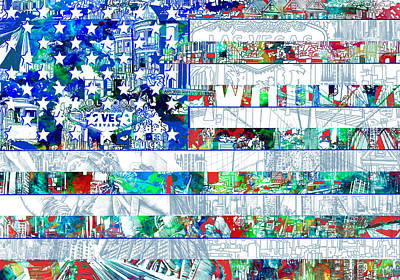 Democracy Painting - Usa Flag 14 by Bekim Art