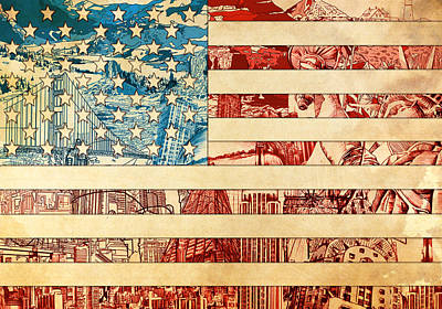 Painting - Usa Flag 2 by Bekim Art