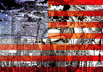 Landmarks Painting Royalty Free Images - Usa flag 3 Royalty-Free Image by Bekim M