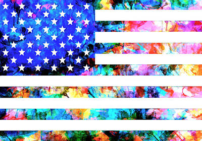 Painting - Usa Flag 6 by Bekim Art