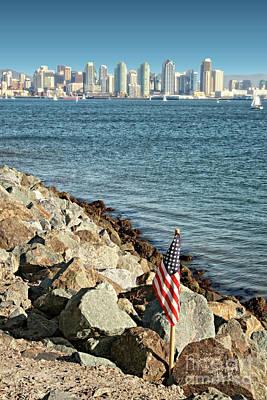 Photograph - Usa Flag And San Diego Skyline by Gabriele Pomykaj