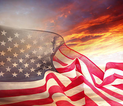 Usa Flag And Sky Art Print by Les Cunliffe