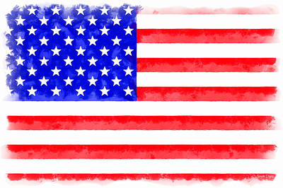 Icons Digital Art - Usa Flag  - Aquarell Style -  - Da by Leonardo Digenio