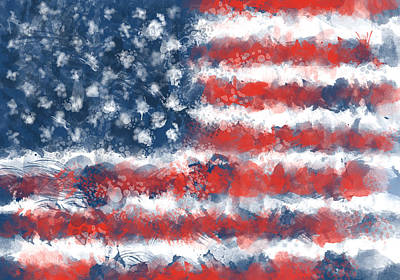Painting - Usa Flag Brush Strokes by Bekim Art