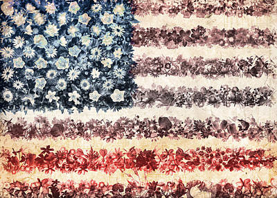 4th July Painting - Usa Flag Floral 3 by Bekim Art