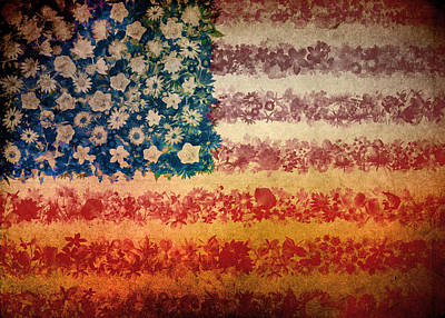 Usa Flag Floral 4 Art Print