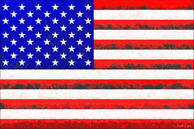 Usa Flag  - Free Colorful Style -  - Pa Art Print by Leonardo Digenio