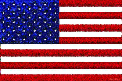 4th July Painting - Usa Flag  - Gemstone Painting Style -  - Pa by Leonardo Digenio