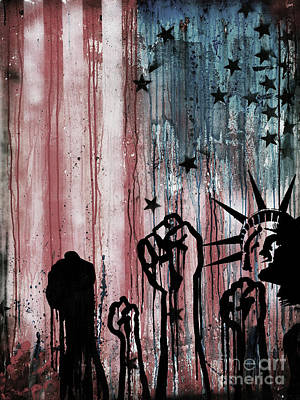 Usa Flag Liberty  Art Print by Gull G