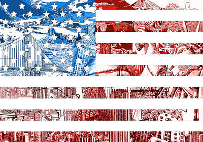 Painting - Usa Flag by Bekim Art