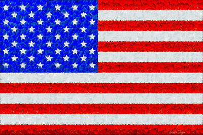 Icon Painting - Usa Flag  - Palette Knife Style -  - Pa by Leonardo Digenio