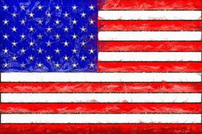 Usa Flag  - Pencil Style -  - Da Art Print by Leonardo Digenio
