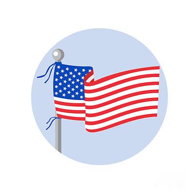 Flag Pole Digital Art - Usa Flag Stars And Stripes On Flagpole Circle Cartoon by Aloysius Patrimonio