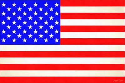 Usa Flag  - Vivid Free Style -  - Da Art Print by Leonardo Digenio
