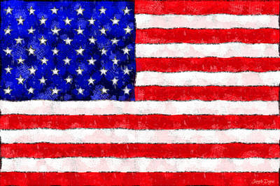 Usa Flag  - Wax Style -  - Da Art Print by Leonardo Digenio