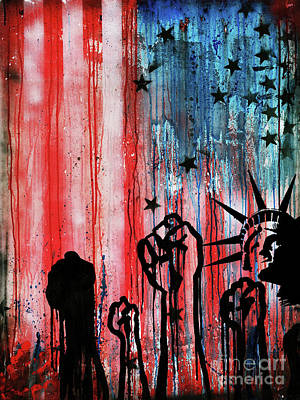 Usa Flag Yu7 Art Print by Gull G