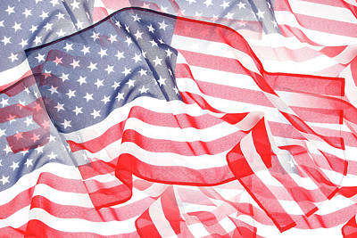 Usa Flags Print by Les Cunliffe