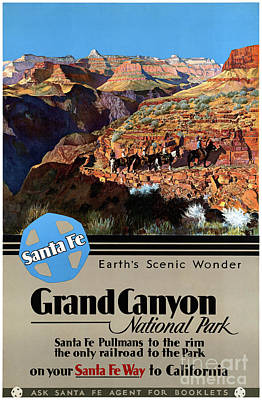 Grand Canyon Mixed Media - Usa Grand Canyon Restored Vintage Travel Poster by Carsten Reisinger