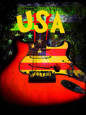 Digital Art - Usa Guitar Music by Guitar Wacky