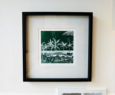Drawing - Usa - Hawaii - Palm Trees - Sample Drawing Detail With White Lines On Green Background - 2016 by Charlie Szoradi