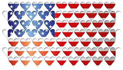 I Love America Digital Art - Usa Hearts Flag by Image Zone