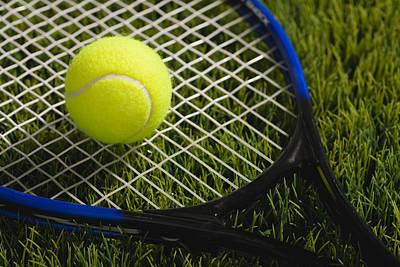 Usa, Illinois, Metamora, Tennis Racket And Ball On Grass Art Print by Vstock LLC