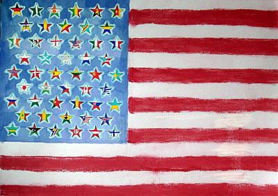 Us Flag Mixed Media - Usa  Largest Ancestries by Deimante Kajataite
