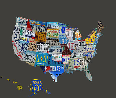 Usa License Tag Map 1b Art Print by Brian Reaves