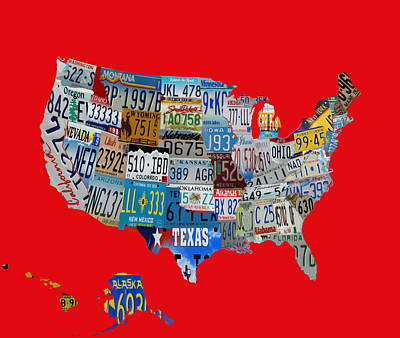 Usa License Tag Map 1c Art Print by Brian Reaves