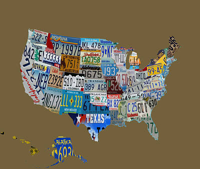 Maine Roads Mixed Media - Usa License Tag Map 1d by Brian Reaves