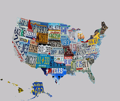 Usa License Tag Map 1e Art Print by Brian Reaves