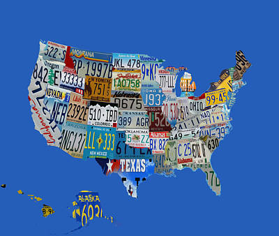 Usa License Tag Map 1g Art Print by Brian Reaves
