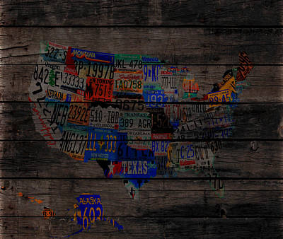 Usa License Tag Map 1w Art Print by Brian Reaves