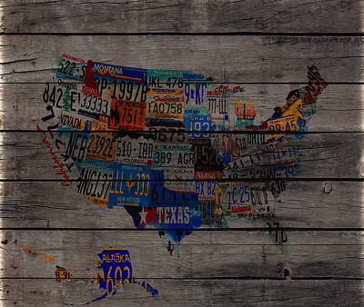 Usa License Tag Map  W3 Art Print by Brian Reaves