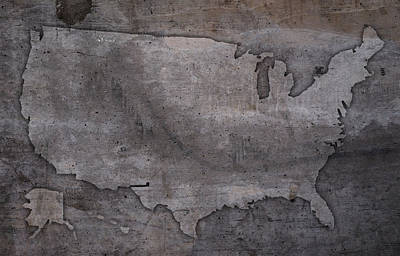 Usa Mixed Media - Usa Map Outline On Concrete Wall Slab by Design Turnpike
