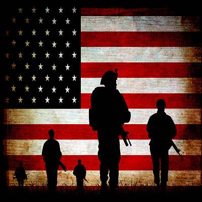 Mixed Media - Usa Military by Angelina Tamez