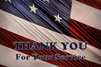 Print featuring the photograph Usa Military Veterans Patriotic Flag Thank You by Shelley Neff