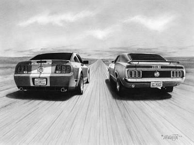 Automotive Drawing - Usa Muscle II by Tim Dangaran