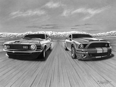 Automotive Drawing - Usa Muscle  by Tim Dangaran