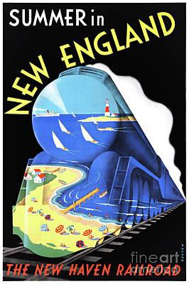 Mixed Media - Usa New England Vintage Travel Poster Restored by Carsten Reisinger