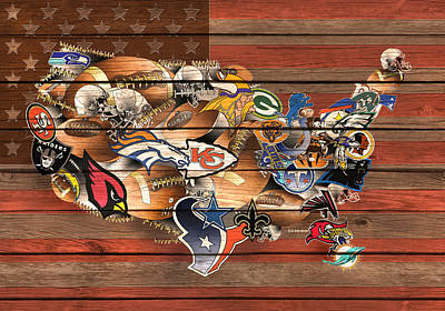 Abstract Digital Painting - Usa Nfl Map Collage 6 by Bekim Art