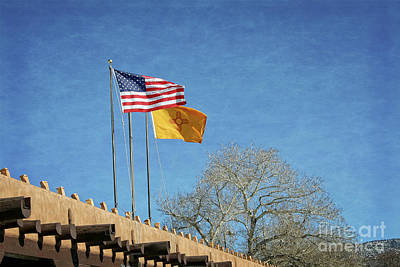 Photograph - Usa - Nm Flags Waving In The Wind by Gabriele Pomykaj
